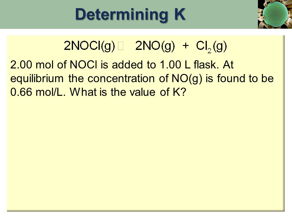 2.00 mol of NOCl is added to 1.00 L flask. At equilibrium the concentration of NO(g) is found to be 0.66 mol/L. What is the value of K? Determining K