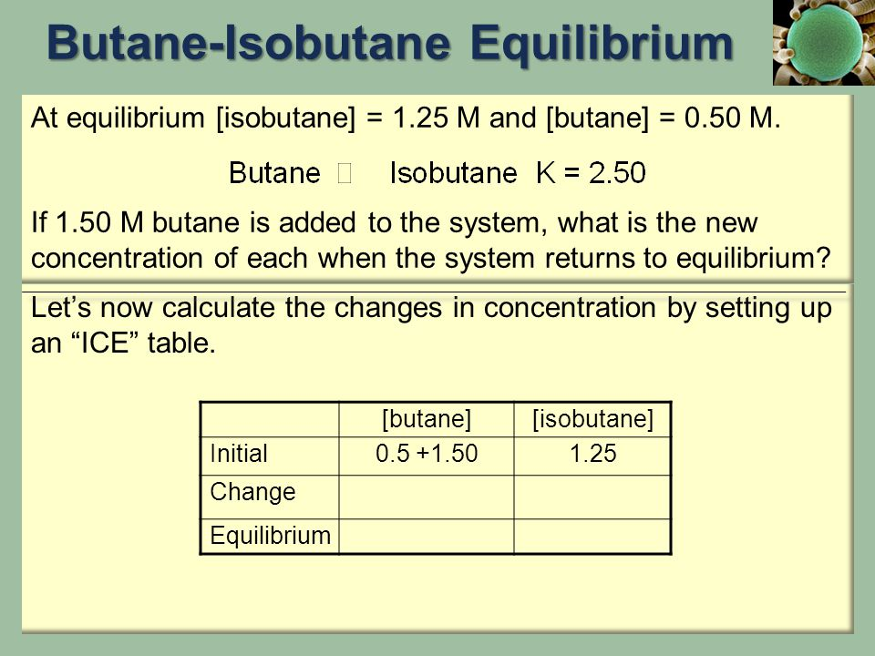 """Let's now calculate the changes in concentration by setting up an """"ICE"""" table. At equilibrium [isobutane] = 1.25 M and [butane] = 0.50 M. If 1.50 M bu"""