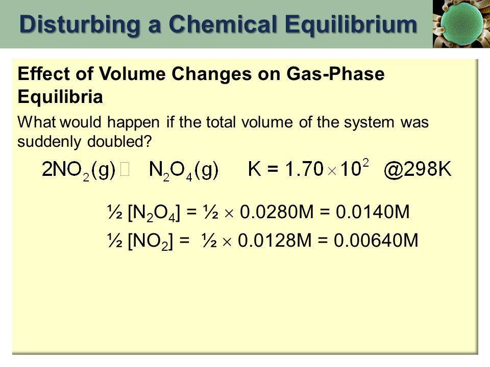 Effect of Volume Changes on Gas-Phase Equilibria What would happen if the total volume of the system was suddenly doubled? ½ [N 2 O 4 ] = ½  0.0280M