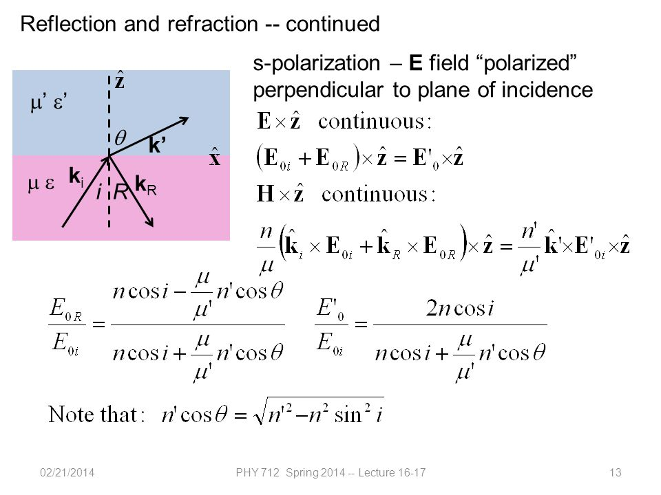 02/21/2014PHY 712 Spring 2014 -- Lecture 16-1713 Reflection and refraction -- continued  '  '  k' kiki kRkR iR  s-polarization – E field polarized perpendicular to plane of incidence