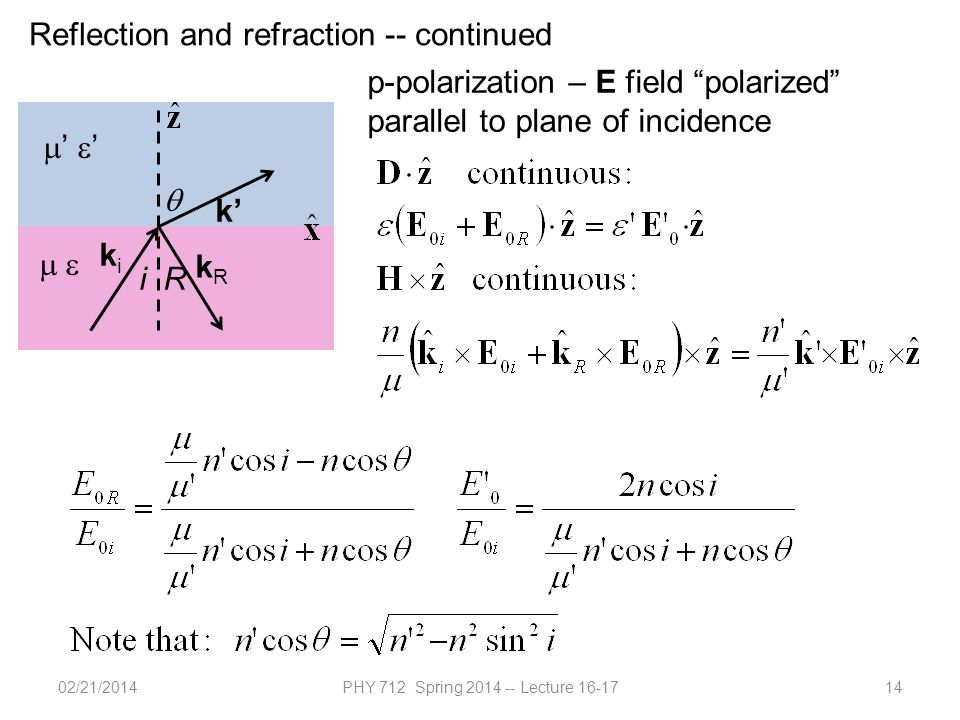 02/21/2014PHY 712 Spring 2014 -- Lecture 16-1714 Reflection and refraction -- continued  '  '  k' kiki kRkR iR  p-polarization – E field polarized parallel to plane of incidence