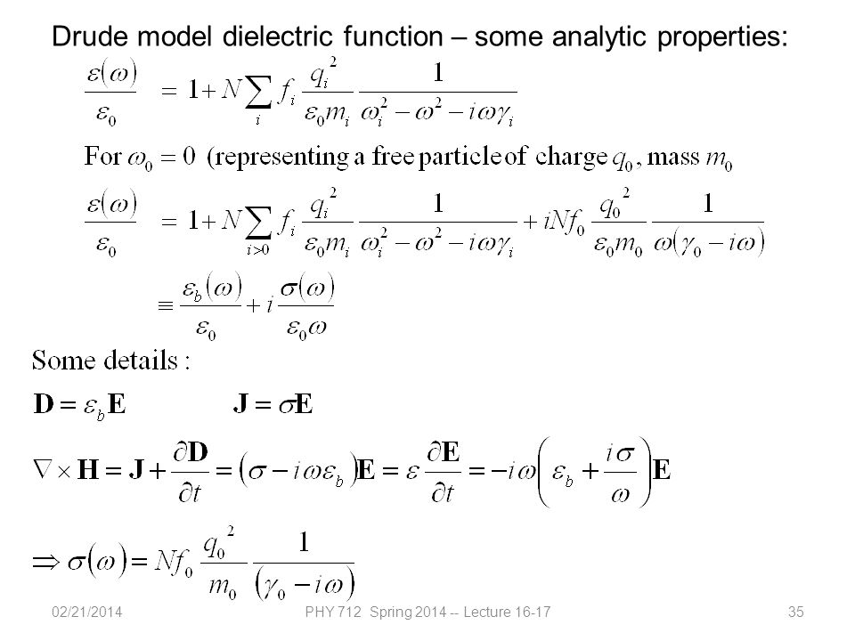 02/21/2014PHY 712 Spring 2014 -- Lecture 16-1735 Drude model dielectric function – some analytic properties: