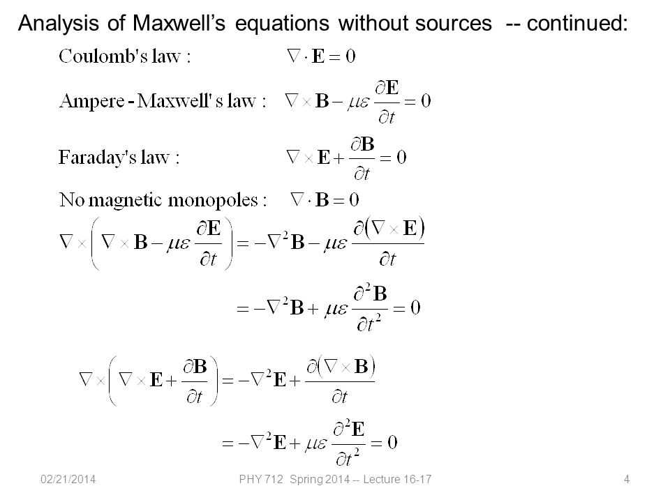 02/21/2014PHY 712 Spring 2014 -- Lecture 16-175 Analysis of Maxwell's equations without sources -- continued: Both E and B fields are solutions to a wave equation:
