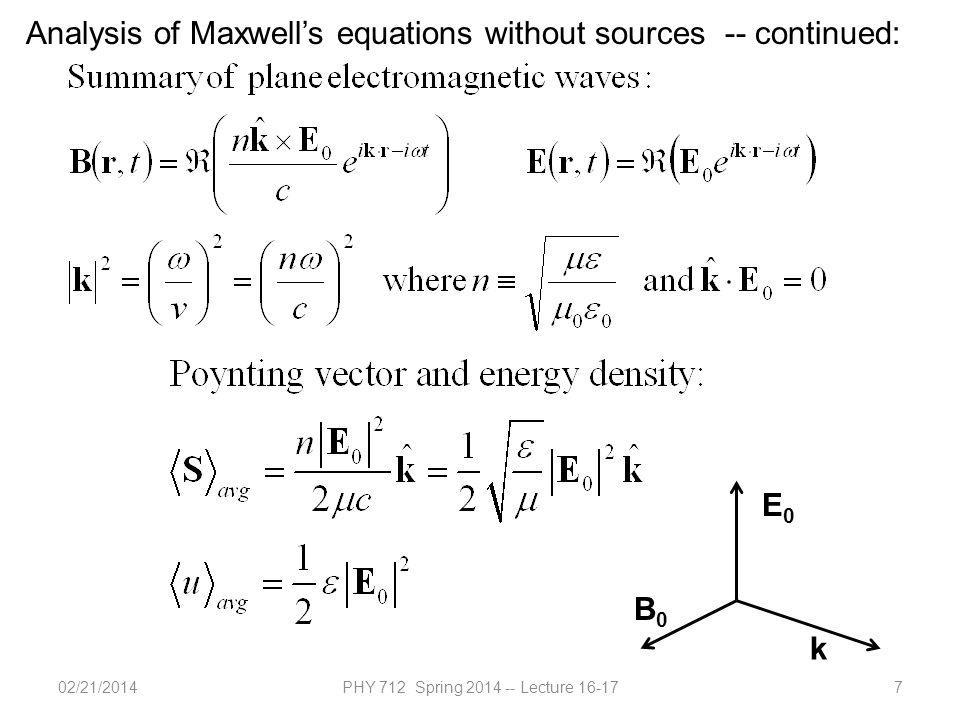 02/21/2014PHY 712 Spring 2014 -- Lecture 16-177 Analysis of Maxwell's equations without sources -- continued: E0E0 B0B0 k