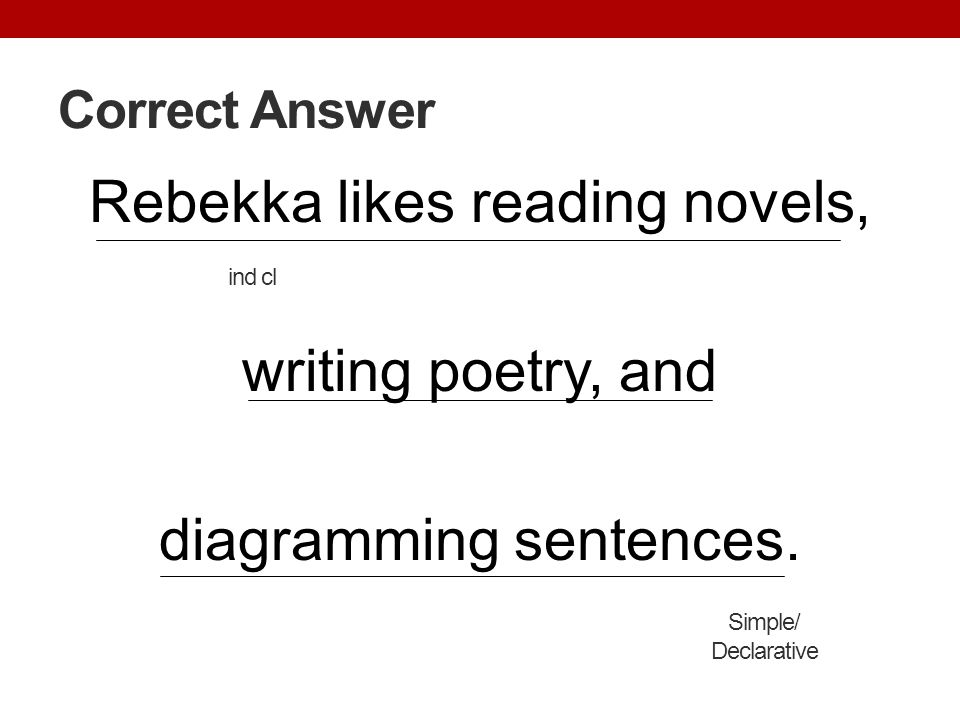 Correct Answer Rebekka likes reading novels, writing poetry, and diagramming sentences. Simple/ Declarative ind cl
