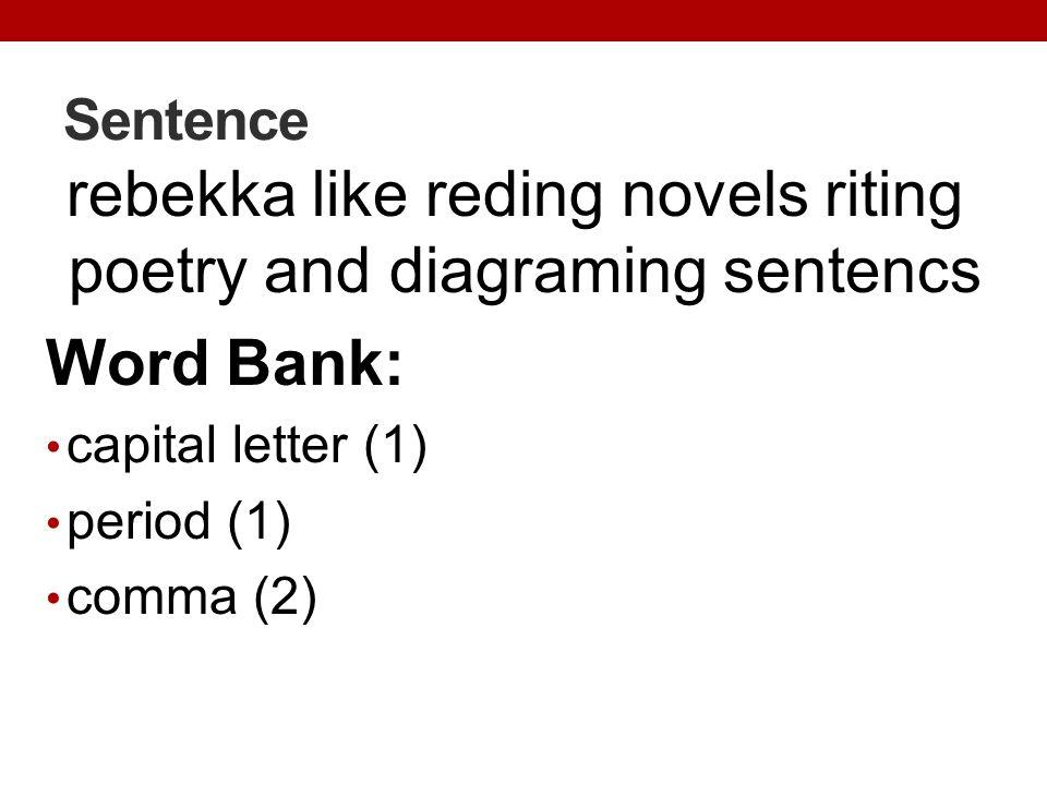 Sentence rebekka like reding novels riting poetry and diagraming sentencs Word Bank: capital letter (1) period (1) comma (2)