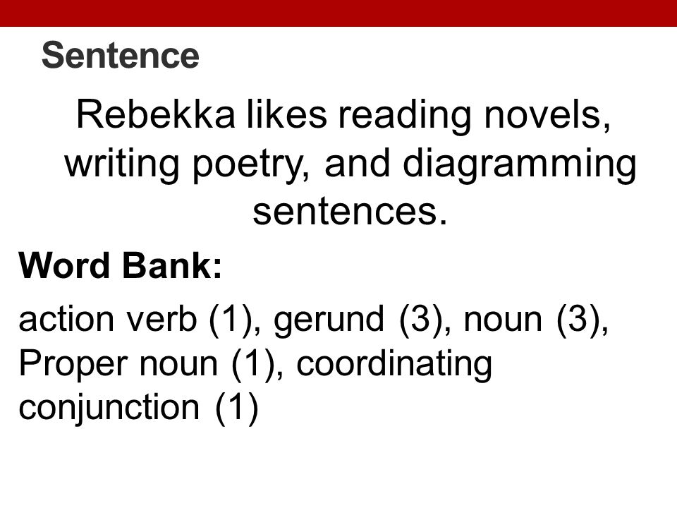Sentence Rebekka likes reading novels, writing poetry, and diagramming sentences. Word Bank: action verb (1), gerund (3), noun (3), Proper noun (1), c
