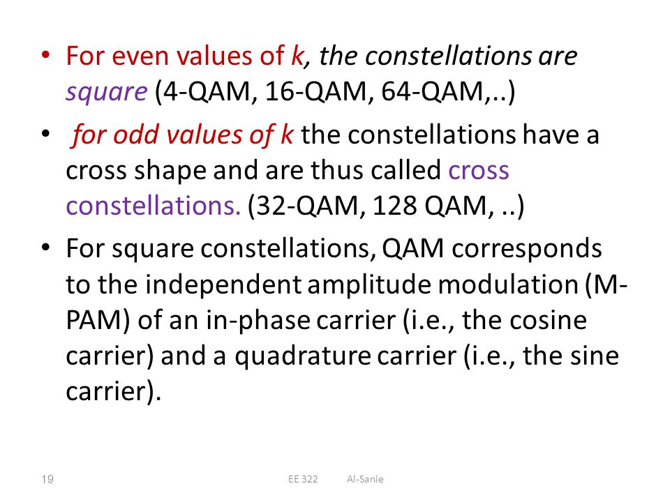 For even values of k, the constellations are square (4-QAM, 16-QAM, 64-QAM,..) for odd values of k the constellations have a cross shape and are thus