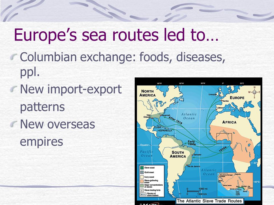 Europe's sea routes led to… Columbian exchange: foods, diseases, ppl. New import-export patterns New overseas empires