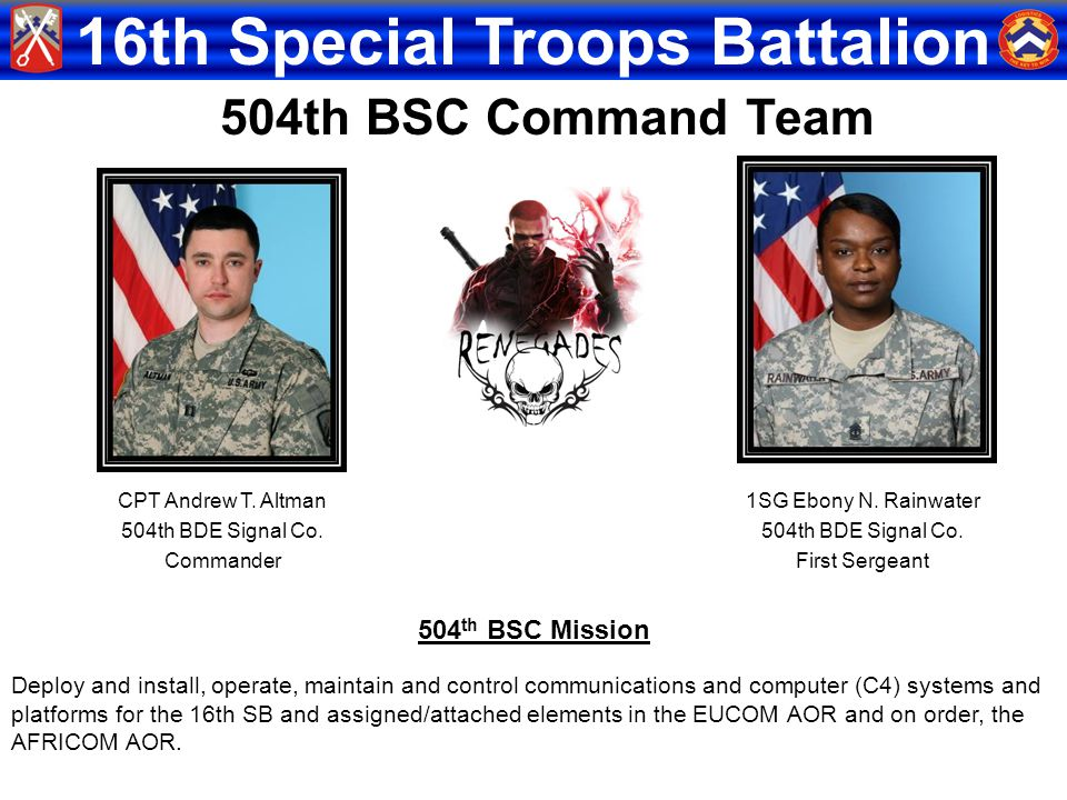 16th Special Troops Battalion CPT Andrew T. Altman 504th BDE Signal Co. Commander 1SG Ebony N. Rainwater 504th BDE Signal Co. First Sergeant 504th BSC