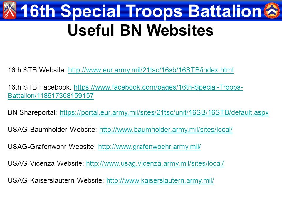 16th Special Troops Battalion 16th STB Website: http://www.eur.army.mil/21tsc/16sb/16STB/index.htmlhttp://www.eur.army.mil/21tsc/16sb/16STB/index.html