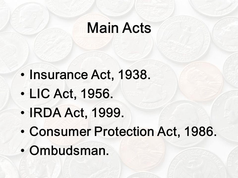 Main Acts Insurance Act, 1938. LIC Act, 1956. IRDA Act, 1999. Consumer Protection Act, 1986. Ombudsman.