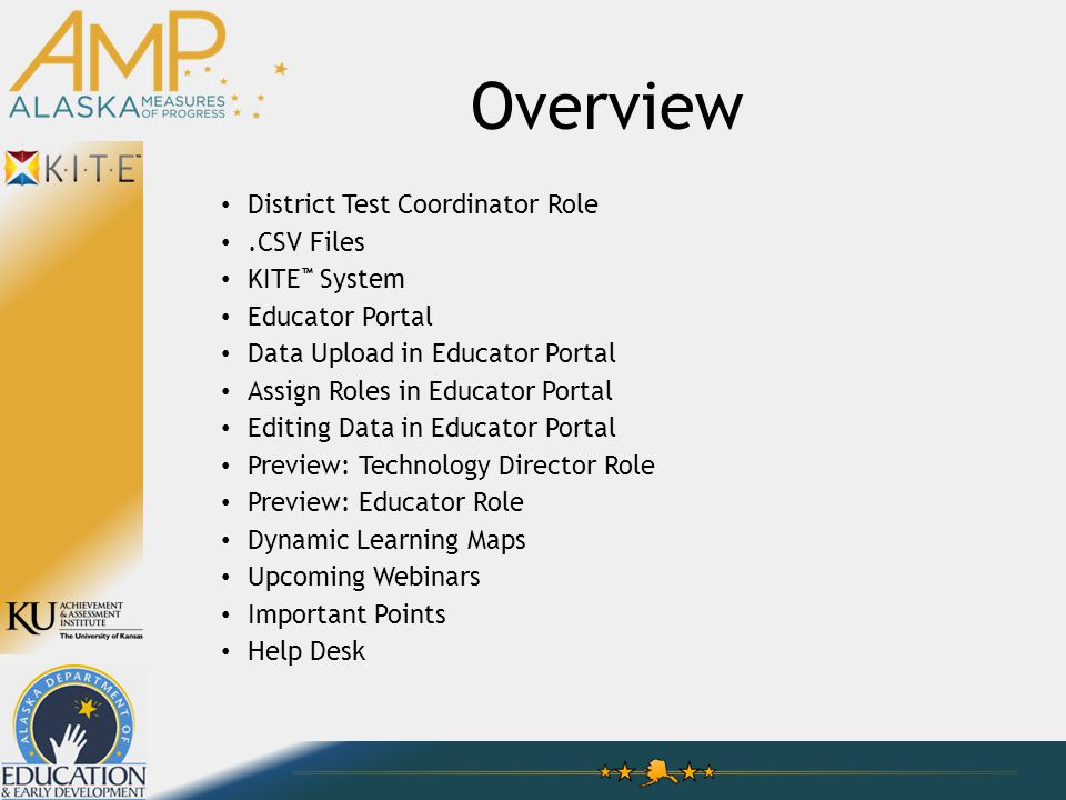 Overview District Test Coordinator Role.CSV Files KITE ™ System Educator Portal Data Upload in Educator Portal Assign Roles in Educator Portal Editing Data in Educator Portal Preview: Technology Director Role Preview: Educator Role Dynamic Learning Maps Upcoming Webinars Important Points Help Desk