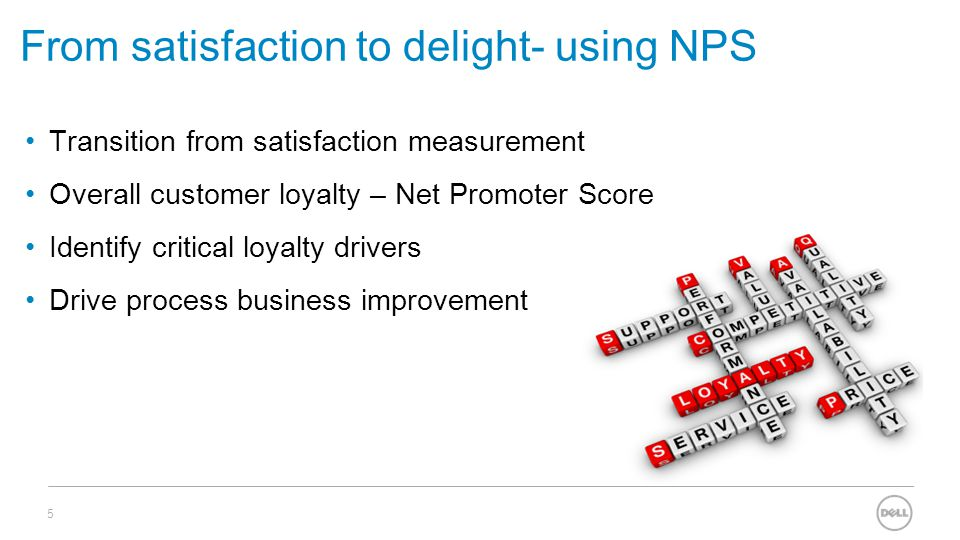 From satisfaction to delight- using NPS Transition from satisfaction measurement Overall customer loyalty – Net Promoter Score Identify critical loyalty drivers Drive process business improvement 5