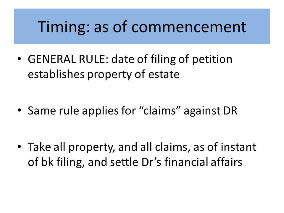 Point of demarcation Property at instant filePost-Bk ESTATENOT estate