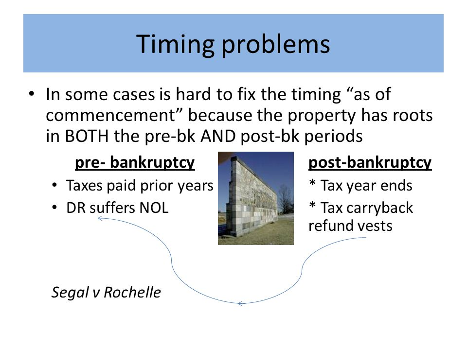 Timing problems In some cases is hard to fix the timing as of commencement because the property has roots in BOTH the pre-bk AND post-bk periods pre- bankruptcypost-bankruptcy Taxes paid prior years* Tax year ends DR suffers NOL* Tax carryback refund vests Segal v Rochelle