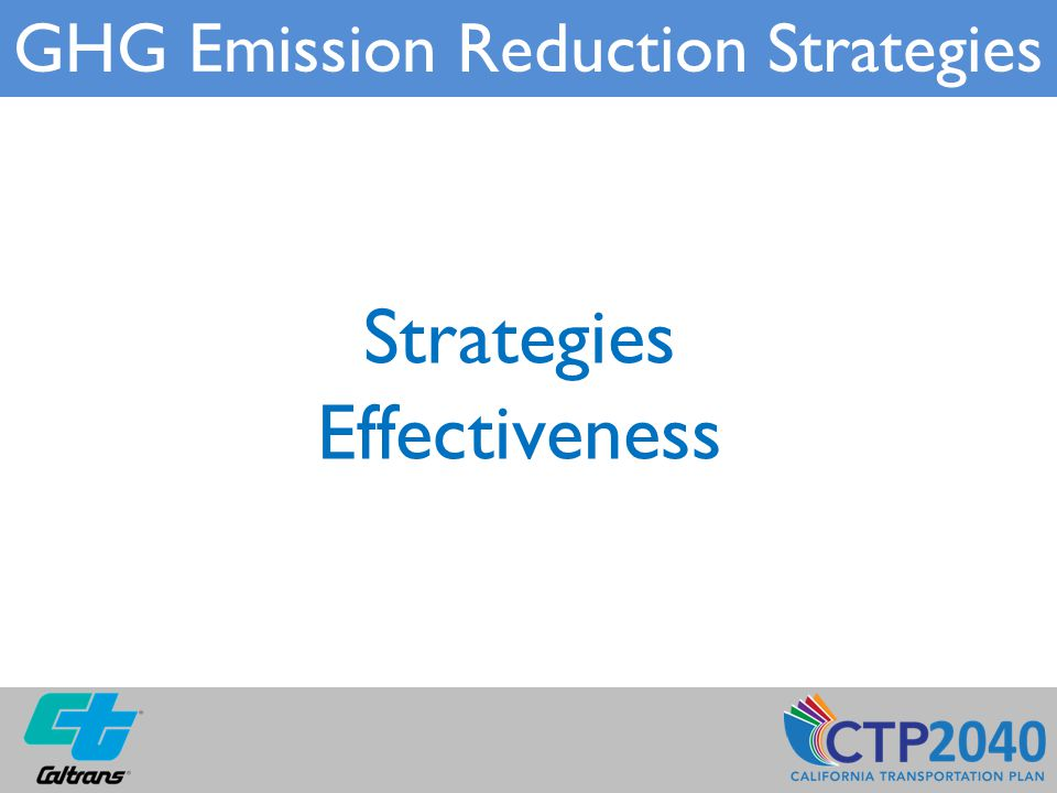 Strategies Effectiveness GHG Emission Reduction Strategies