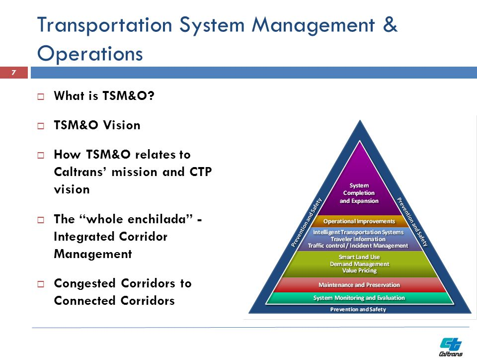 "Transportation System Management & Operations 7  What is TSM&O?  TSM&O Vision  How TSM&O relates to Caltrans' mission and CTP vision  The ""whole e"