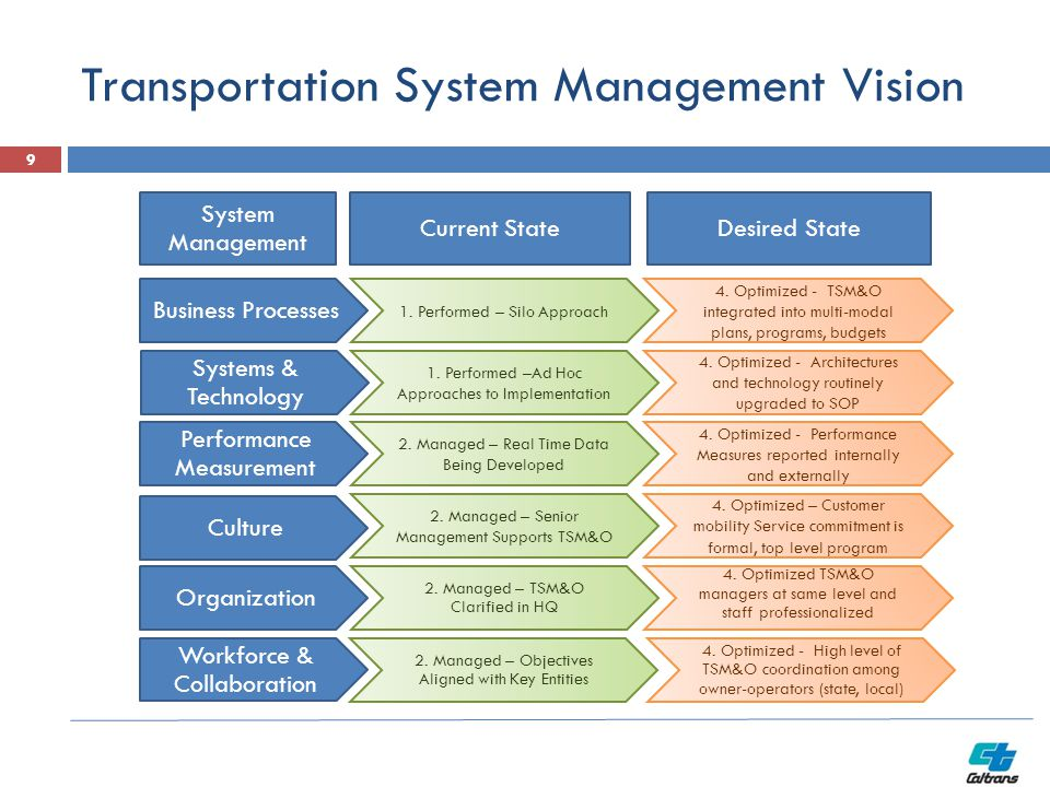 Transportation System Management Vision Business Processes Systems & Technology Performance Measurement Culture Organization System Management 1. Perf