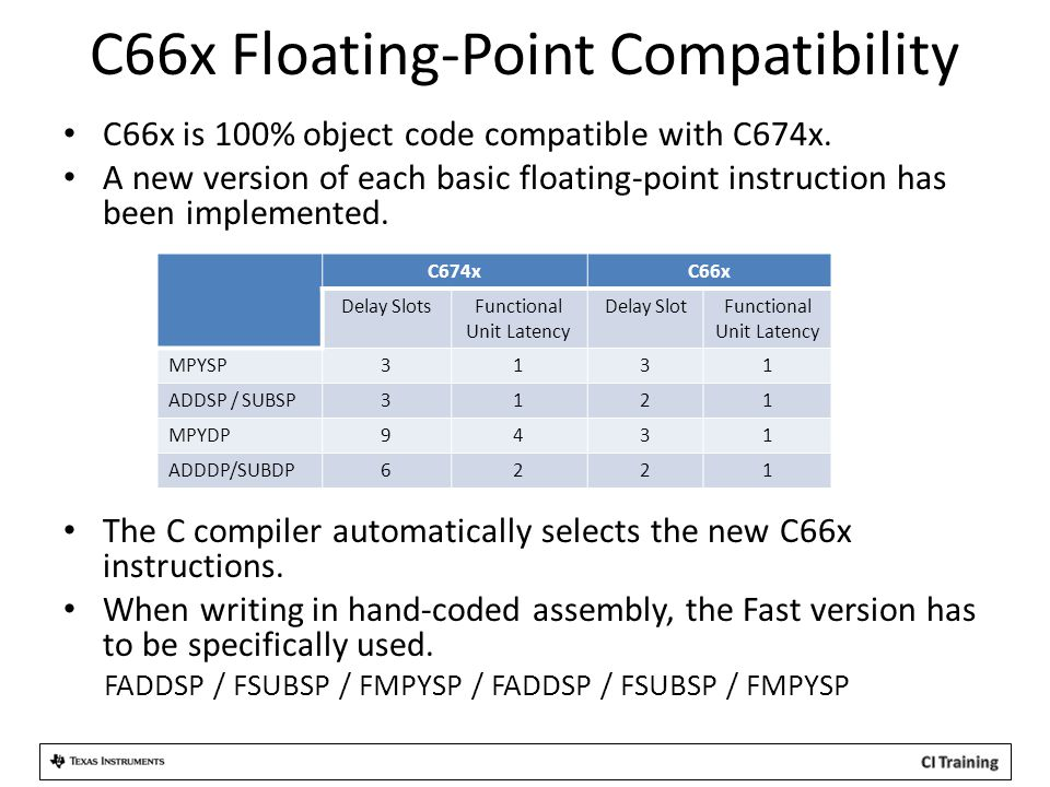 C66x Floating-Point Compatibility C66x is 100% object code compatible with C674x. A new version of each basic floating-point instruction has been impl