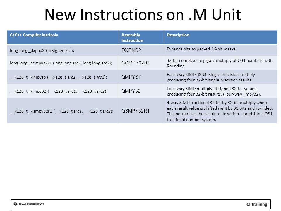 New Instructions on.M Unit C/C++ Compiler IntrinsicAssembly Instruction Description long long _dxpnd2 (unsigned src); DXPND2 Expands bits to packed 16