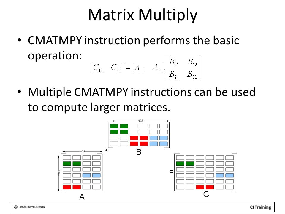 CMATMPY instruction performs the basic operation: Multiple CMATMPY instructions can be used to compute larger matrices.