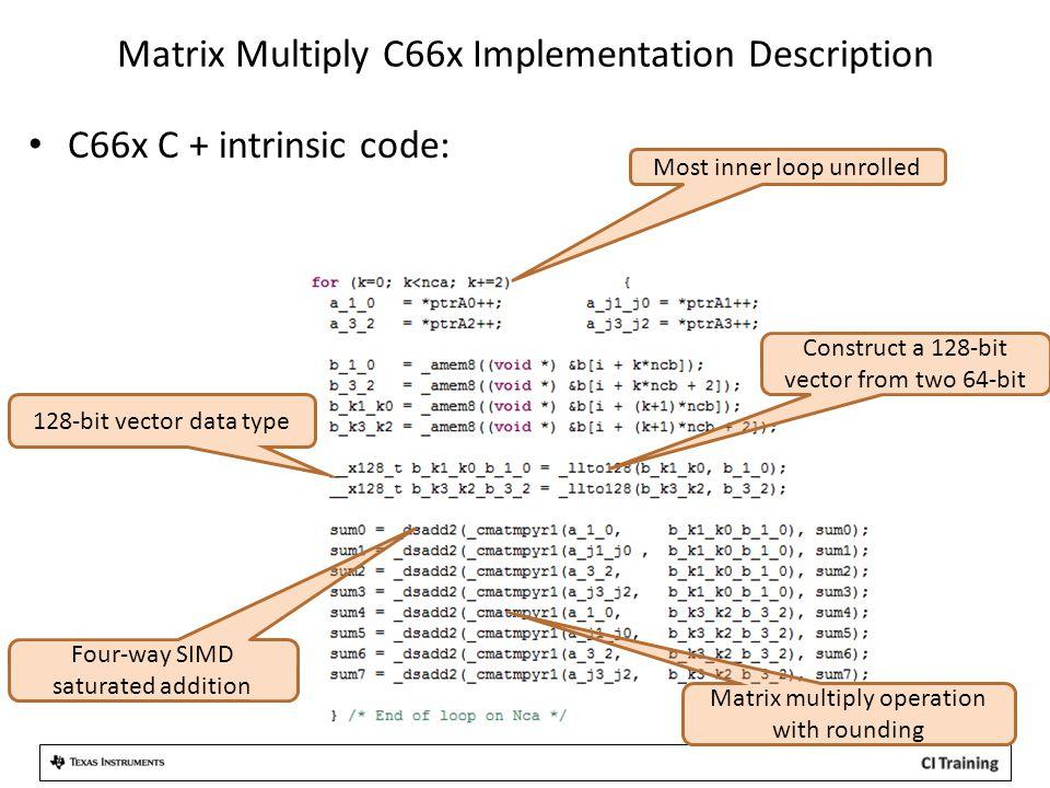 Matrix Multiply C66x Implementation Description C66x C + intrinsic code: Most inner loop unrolled 128-bit vector data type Construct a 128-bit vector