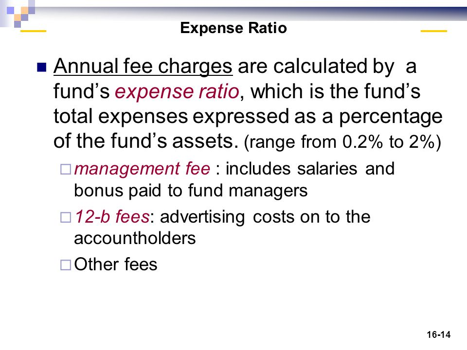 16-14 Expense Ratio Annual fee charges are calculated by a fund's expense ratio, which is the fund's total expenses expressed as a percentage of the fund's assets.