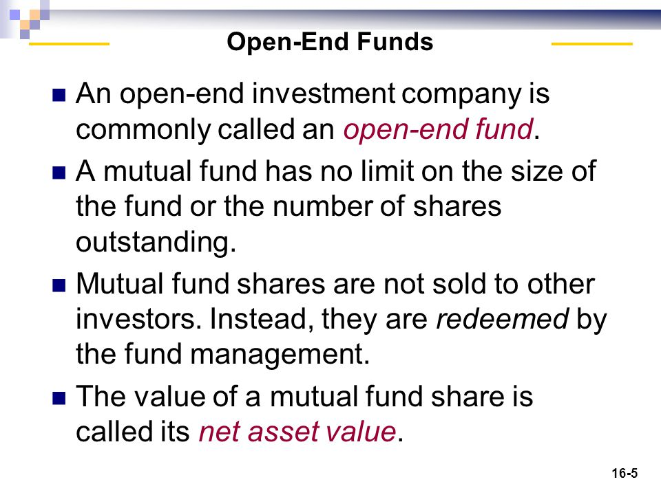 16-6 Open-End Investment Companies Insert Figure 21-1 here.