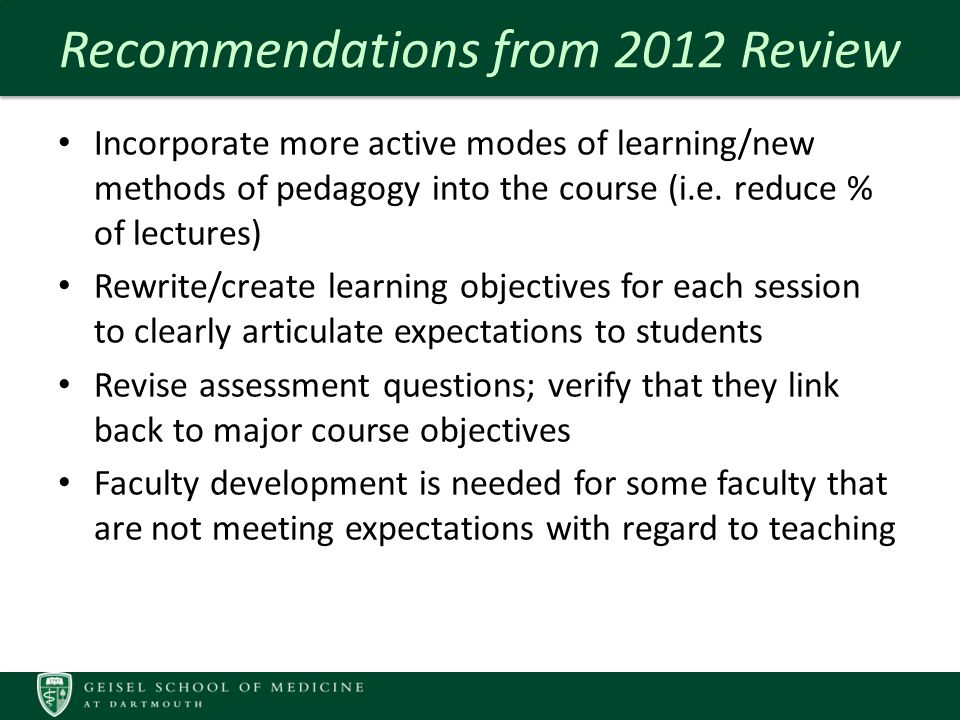 Measures of Quality – IMM Course Reviews Suggestions for Improvement: sample comments: Extra information is like overeating.