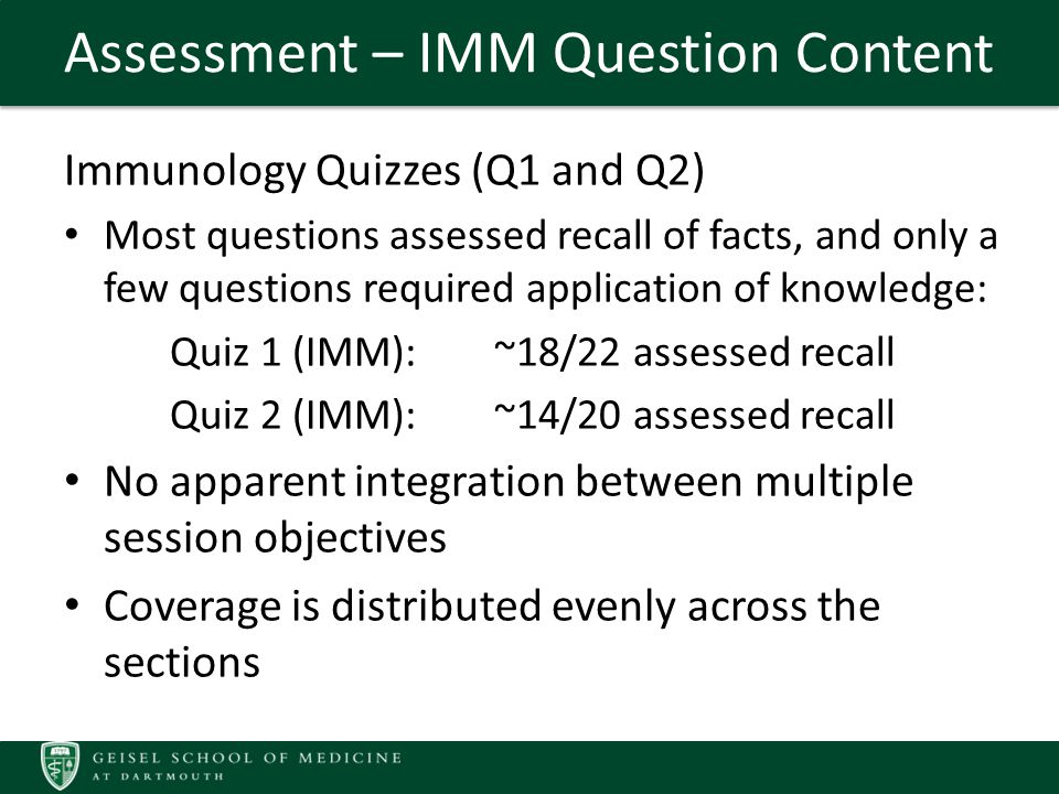Assessment – IMM Question Content Immunology Quizzes (Q1 and Q2) Most questions assessed recall of facts, and only a few questions required application of knowledge: Quiz 1 (IMM): ~18/22 assessed recall Quiz 2 (IMM): ~14/20 assessed recall No apparent integration between multiple session objectives Coverage is distributed evenly across the sections