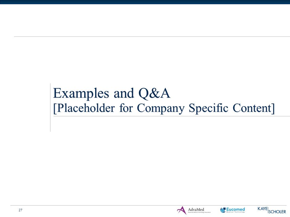 27 Examples and Q&A [Placeholder for Company Specific Content]