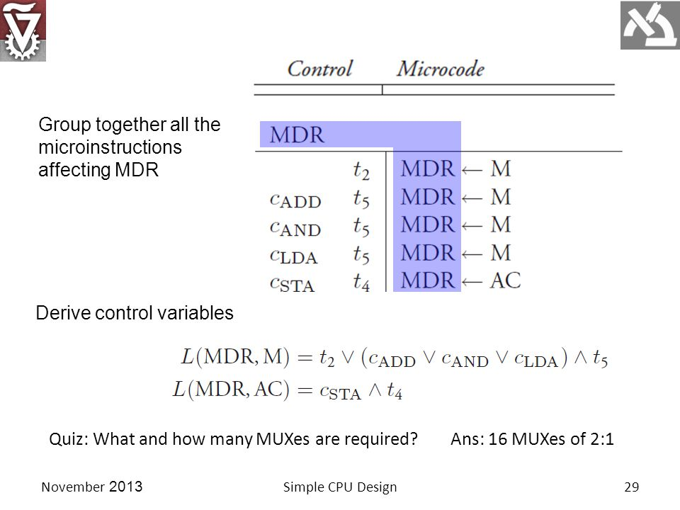 November 2013Simple CPU Design29 Group together all the microinstructions affecting MDR Derive control variables Quiz: What and how many MUXes are required Ans: 16 MUXes of 2:1