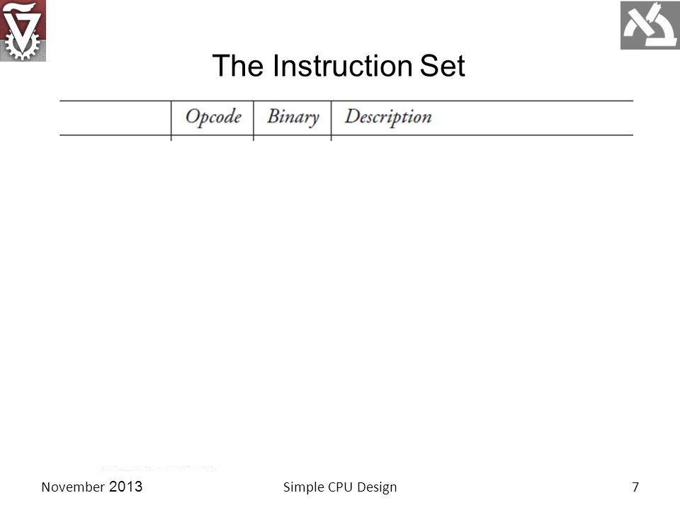 The Instruction Set Simple CPU Design7November 2013