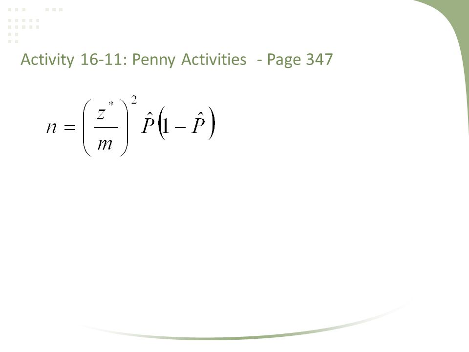Activity 16-11: Penny Activities - Page 347