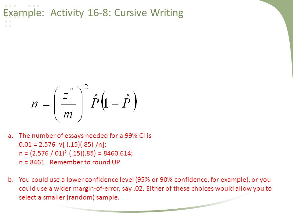 Example: Activity 16-8: Cursive Writing a.The number of essays needed for a 99% CI is 0.01 = 2.576 √[ (.15)(.85) /n]; n = (2.576 /.01) 2 (.15)(.85) =