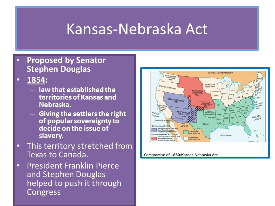 Kansas-Nebraska Act Proposed by Senator Stephen Douglas 1854: – law that established the territories of Kansas and Nebraska. – Giving the settlers the