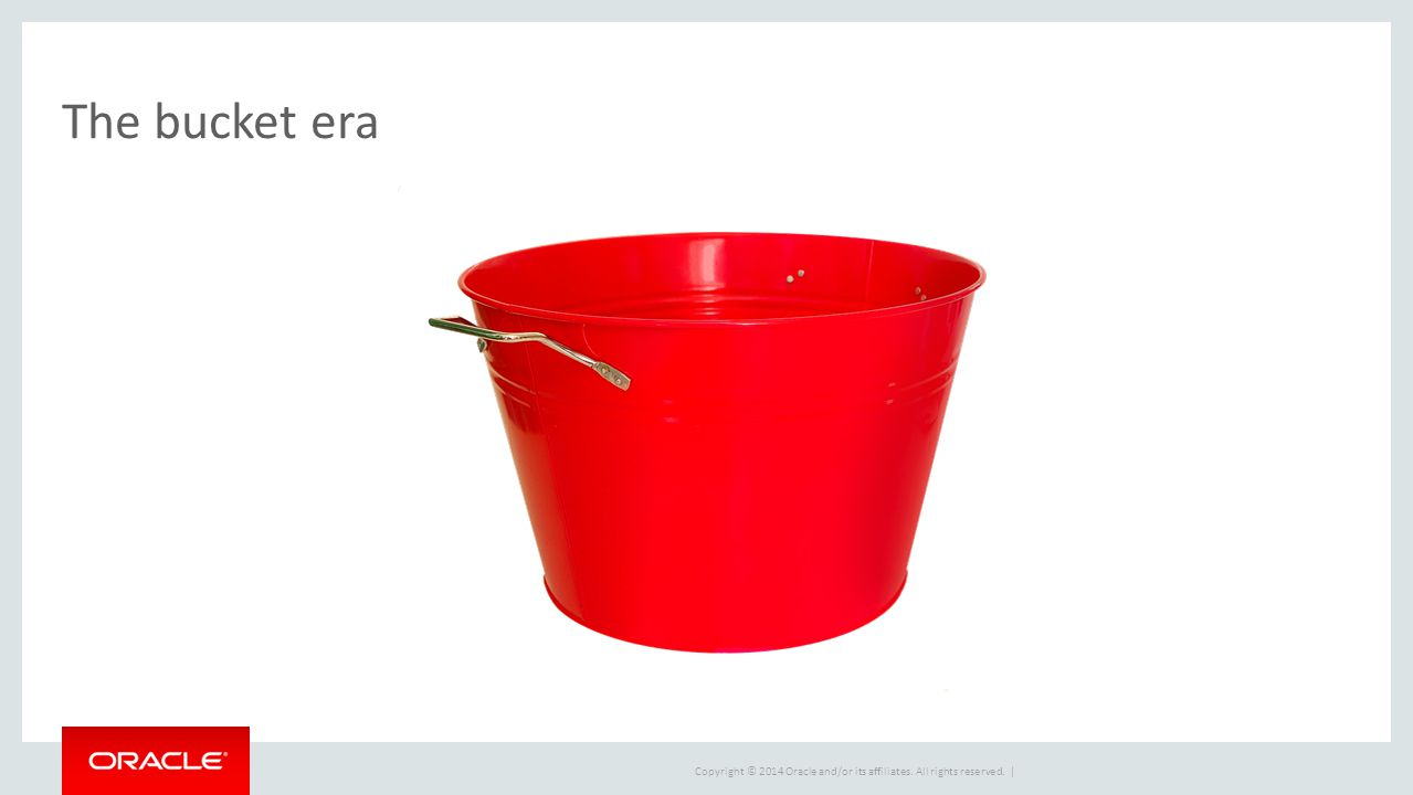 Copyright © 2014 Oracle and/or its affiliates. All rights reserved. | The bucket era