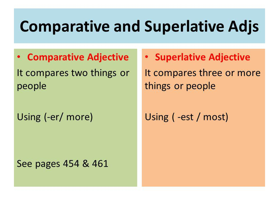 Comparative and Superlative Adjs Comparative Adjective It compares two things or people Using (-er/ more) See pages 454 & 461 Superlative Adjective It compares three or more things or people Using ( -est / most)