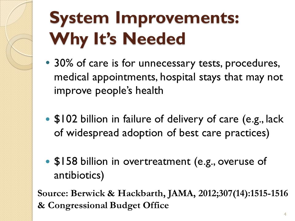System Improvements: Why It's Needed  30% of care is for unnecessary tests, procedures, medical appointments, hospital stays that may not improve people's health $102 billion in failure of delivery of care (e.g., lack of widespread adoption of best care practices) $158 billion in overtreatment (e.g., overuse of antibiotics) 4 Source: Berwick & Hackbarth, JAMA, 2012;307(14):1515-1516 & Congressional Budget Office