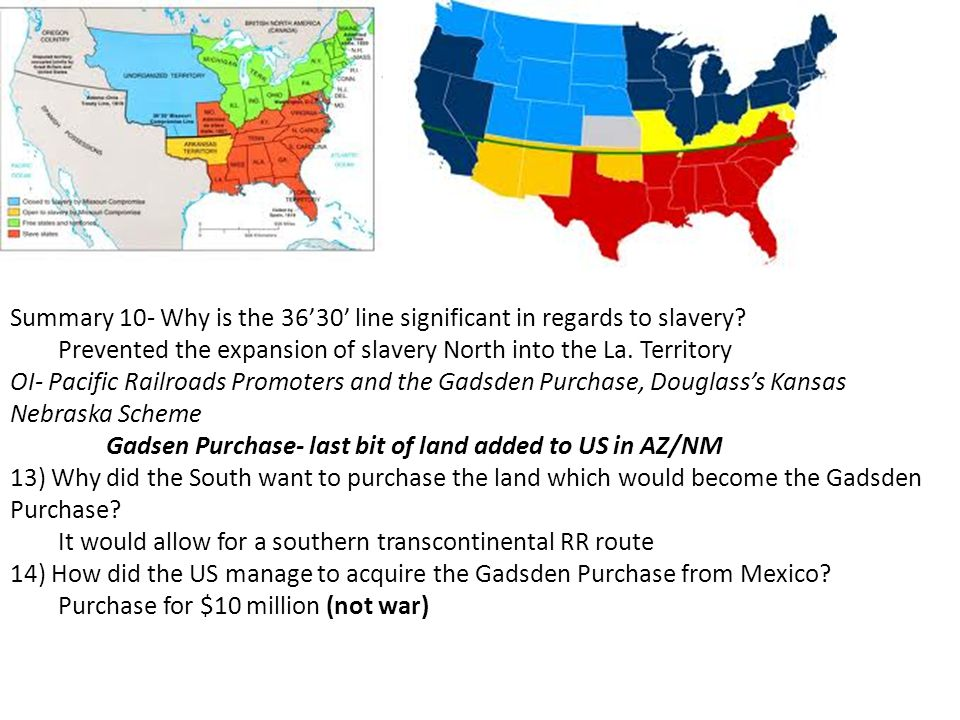 Summary 10- Why is the 36'30' line significant in regards to slavery.