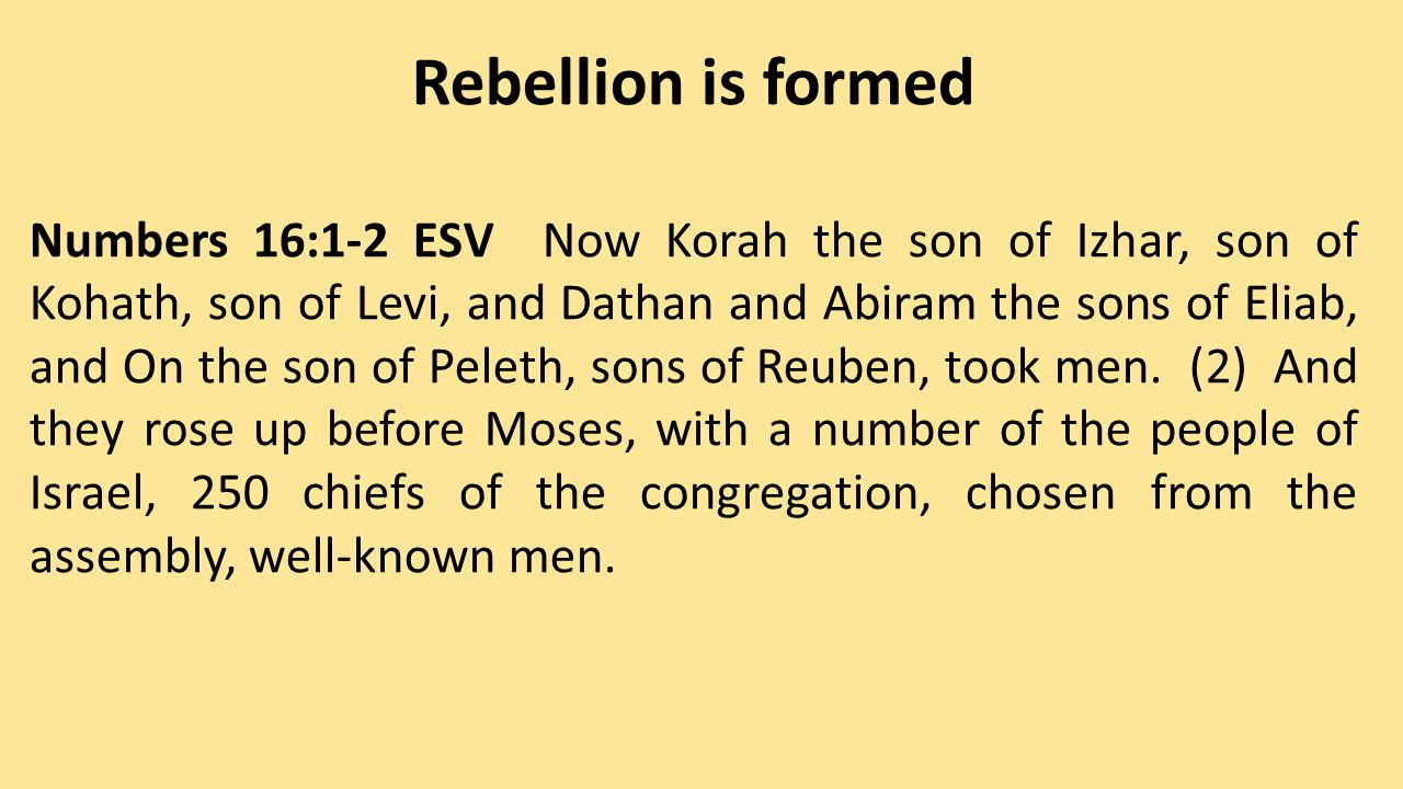 Rebellion is dealt with by God Numbers 16:16-18 And Moses said to Korah, Be present, you and all your company, before the LORD, you and they, and Aaron, tomorrow.