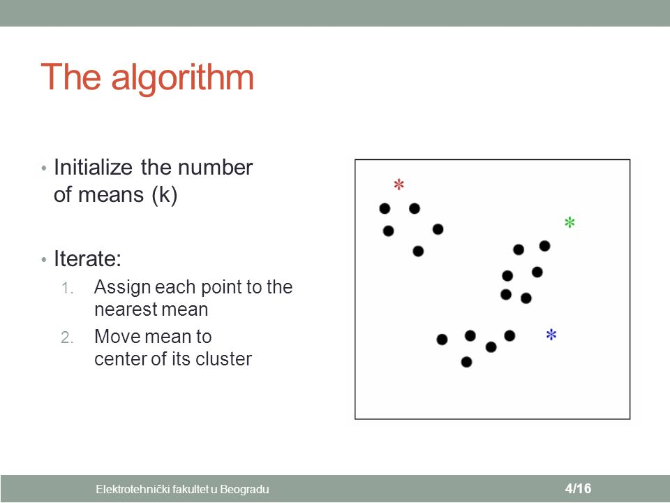 The algorithm Initialize the number of means (k) Iterate: 1.