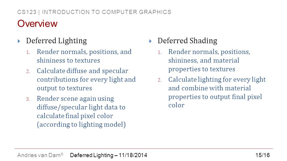 CS123 | INTRODUCTION TO COMPUTER GRAPHICS Andries van Dam © 15/16 Deferred Lighting – 11/18/2014  Deferred Lighting 1.