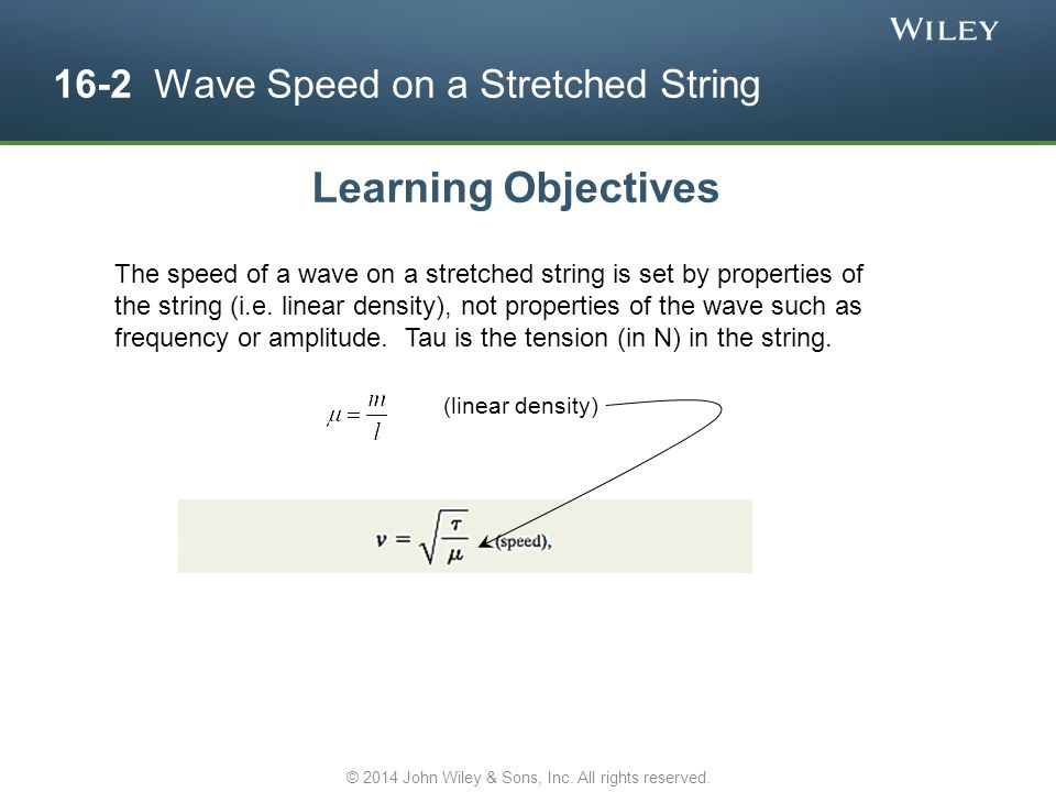 16-2 Wave Speed on a Stretched String Learning Objectives The speed of a wave on a stretched string is set by properties of the string (i.e. linear de
