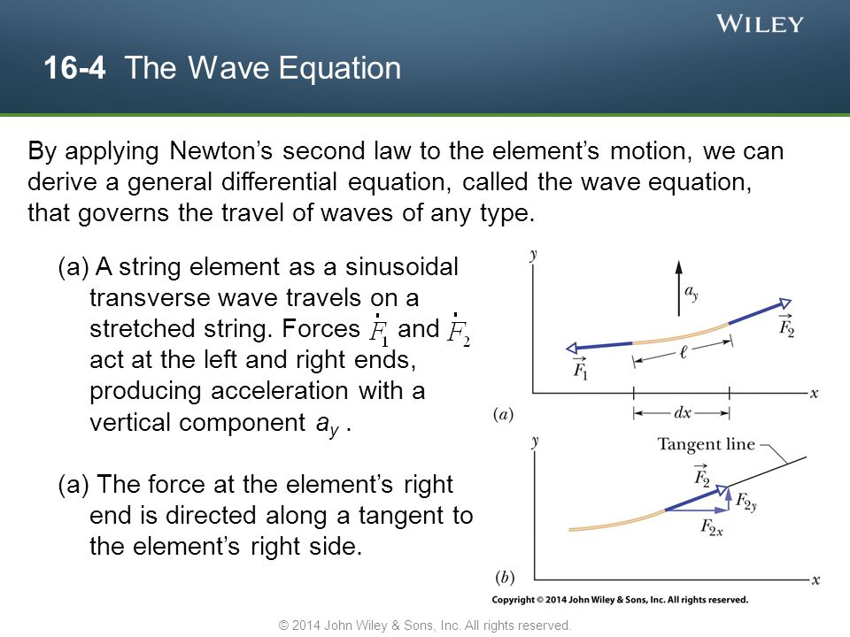 16-4 The Wave Equation (a) A string element as a sinusoidal transverse wave travels on a stretched string. Forces and act at the left and right ends,