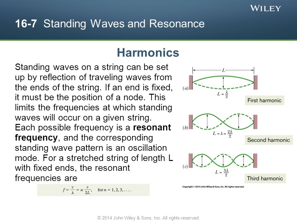 16-7 Standing Waves and Resonance Harmonics Standing waves on a string can be set up by reflection of traveling waves from the ends of the string. If