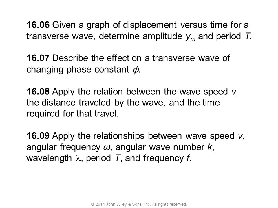 16.06 Given a graph of displacement versus time for a transverse wave, determine amplitude y m and period T. 16.07 Describe the effect on a transverse