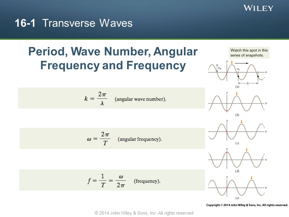 16-1 Transverse Waves Period, Wave Number, Angular Frequency and Frequency © 2014 John Wiley & Sons, Inc. All rights reserved.