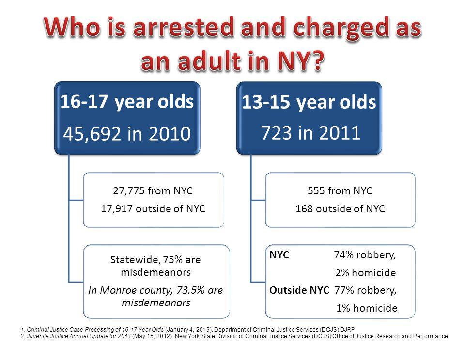1. Criminal Justice Case Processing of 16-17 Year Olds (January 4, 2013). Department of Criminal Justice Services (DCJS) OJRP 2. Juvenile Justice Annu